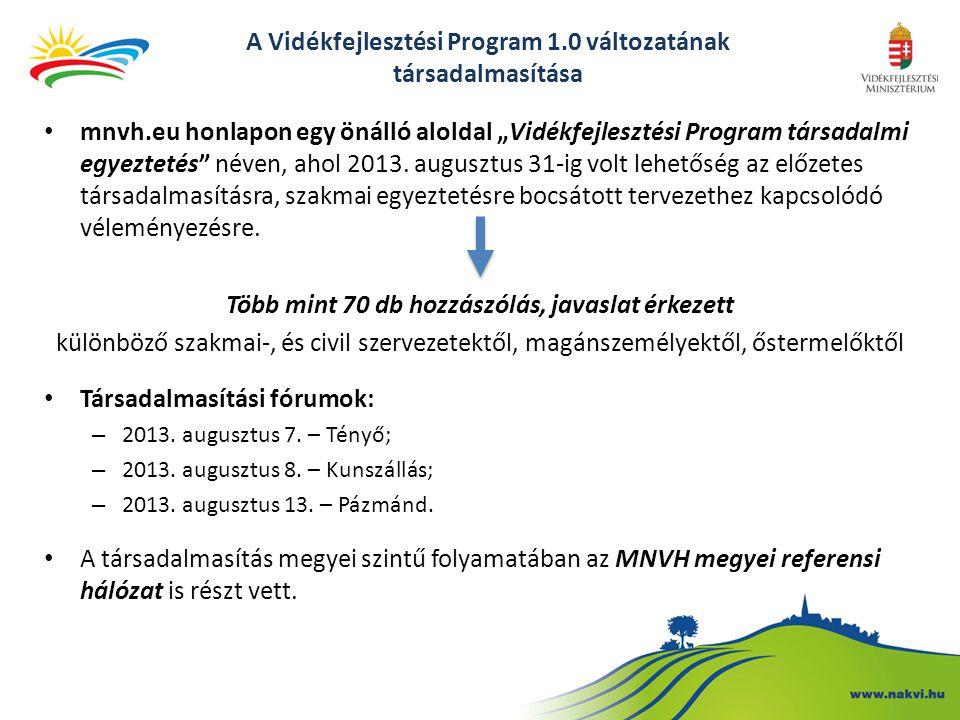 A Vidékfejlesztési Program 1.0 változatának társadalmasítása