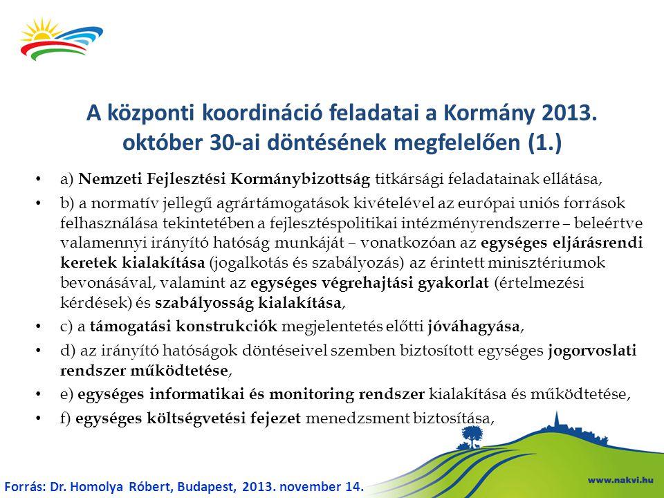 A központi koordináció feladatai a Kormány 2013