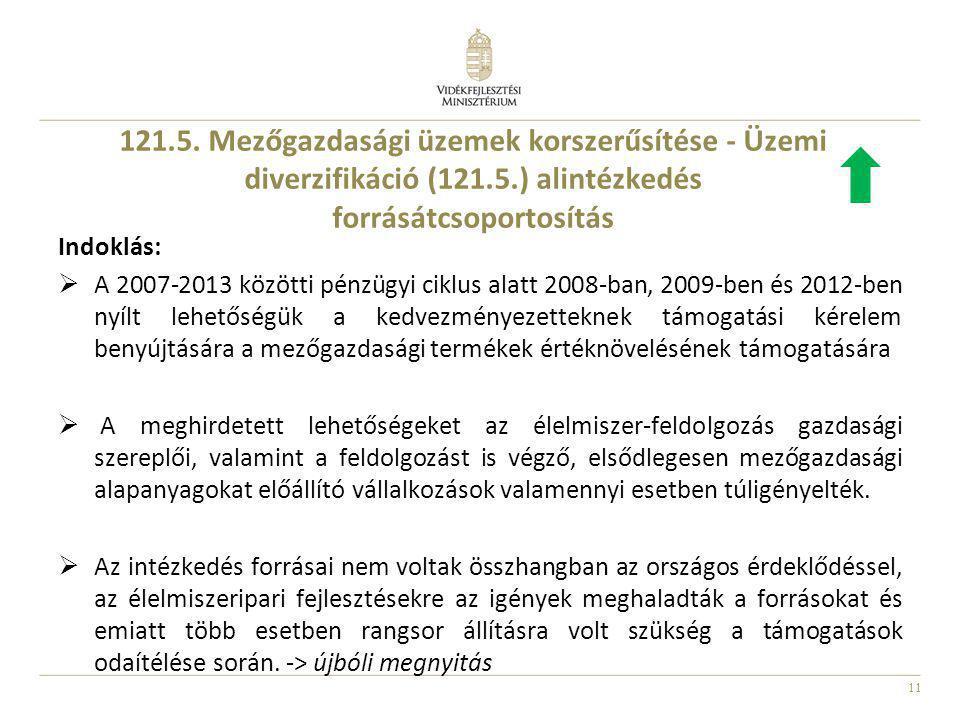 121.5. Mezőgazdasági üzemek korszerűsítése - Üzemi diverzifikáció (121.5.) alintézkedés forrásátcsoportosítás