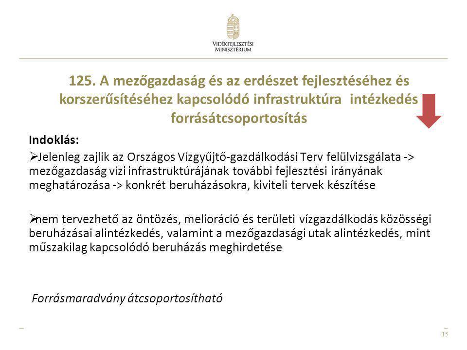 125. A mezőgazdaság és az erdészet fejlesztéséhez és korszerűsítéséhez kapcsolódó infrastruktúra intézkedés forrásátcsoportosítás