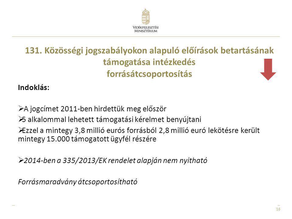 131. Közösségi jogszabályokon alapuló előírások betartásának támogatása intézkedés forrásátcsoportosítás