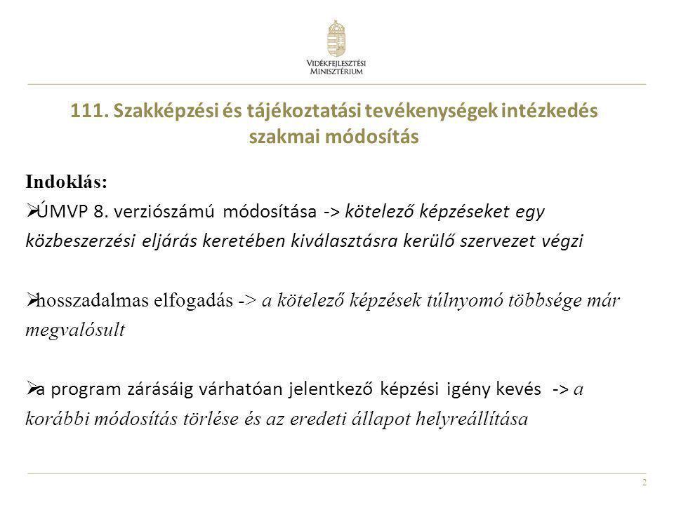 111. Szakképzési és tájékoztatási tevékenységek intézkedés szakmai módosítás