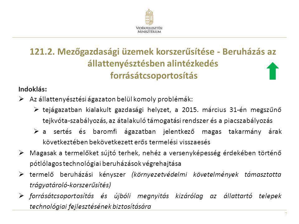 121.2. Mezőgazdasági üzemek korszerűsítése - Beruházás az állattenyésztésben alintézkedés forrásátcsoportosítás