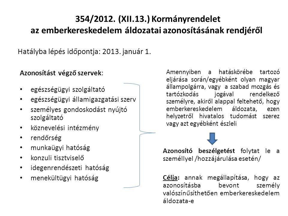 354/2012. (XII.13.) Kormányrendelet az emberkereskedelem áldozatai azonosításának rendjéről Hatályba lépés időpontja: 2013. január 1.
