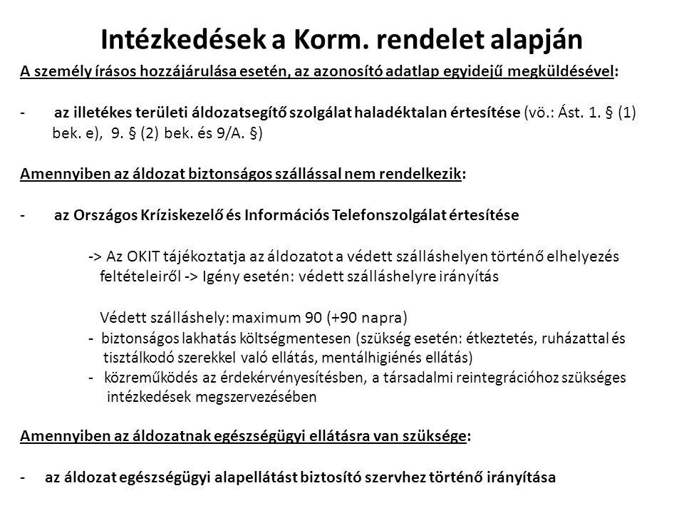 Intézkedések a Korm. rendelet alapján