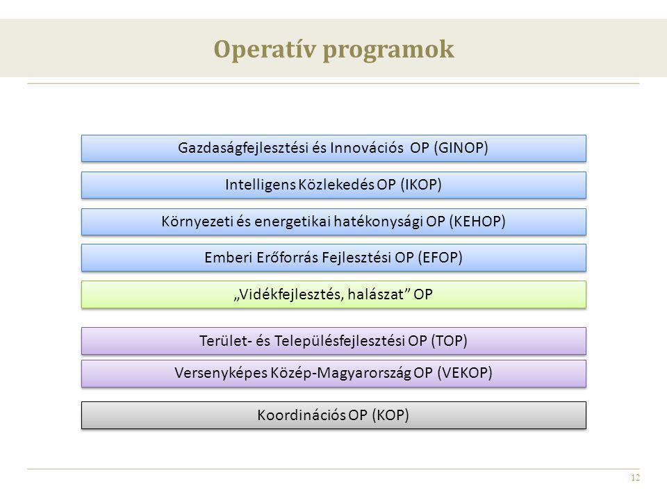 Operatív programok Gazdaságfejlesztési és Innovációs OP (GINOP)