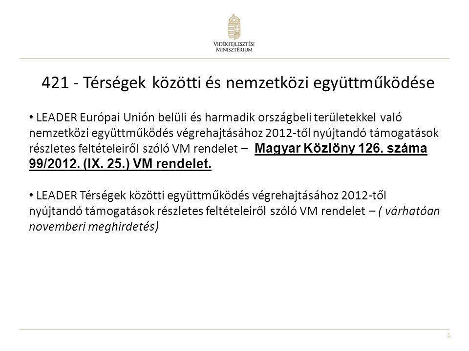 421 - Térségek közötti és nemzetközi együttműködése