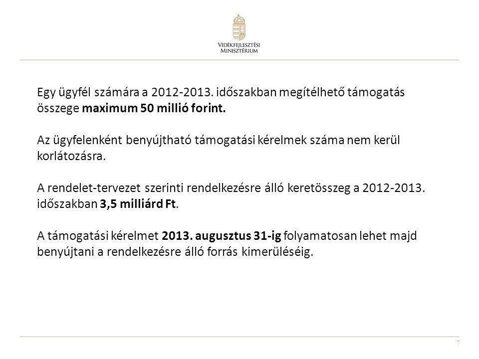 Egy ügyfél számára a 2012-2013. időszakban megítélhető támogatás összege maximum 50 millió forint.