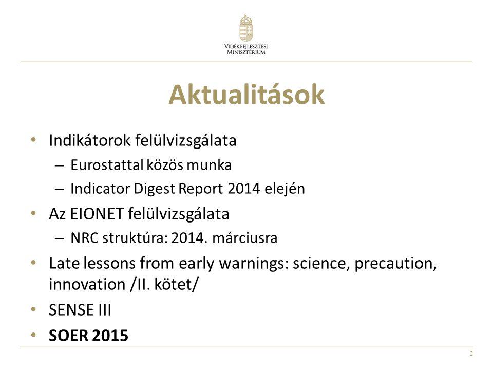 Aktualitások Indikátorok felülvizsgálata Az EIONET felülvizsgálata