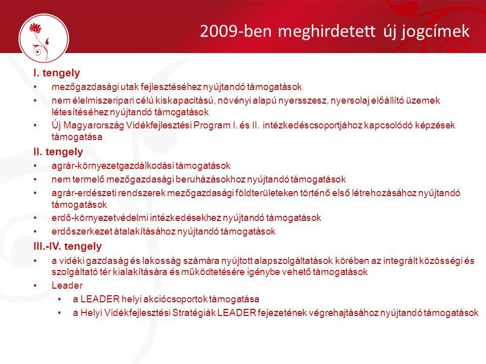 2009-ben meghirdetett új jogcímek