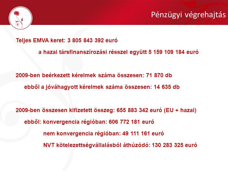 Pénzügyi végrehajtás Teljes EMVA keret: 3 805 843 392 euró