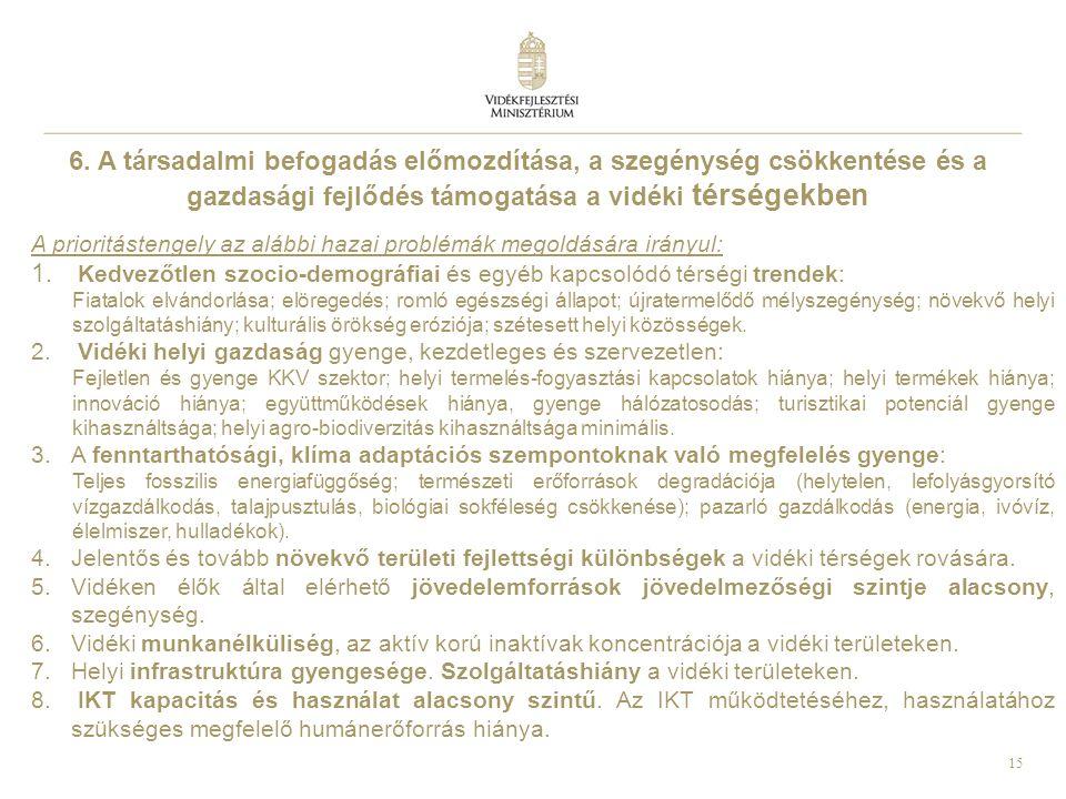 6. A társadalmi befogadás előmozdítása, a szegénység csökkentése és a gazdasági fejlődés támogatása a vidéki térségekben