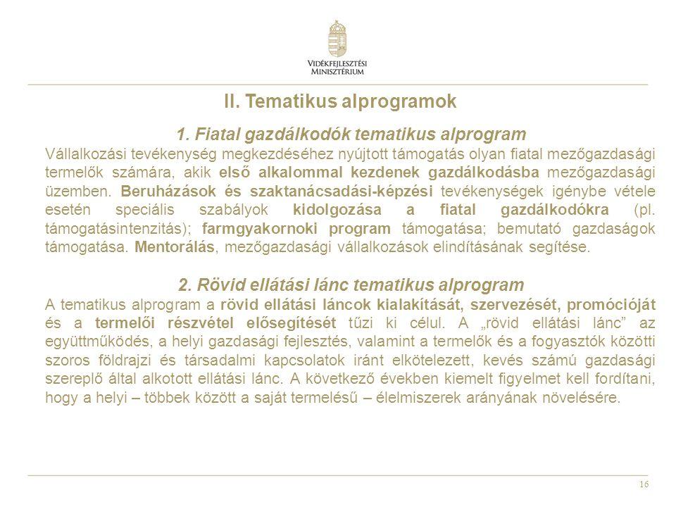 II. Tematikus alprogramok