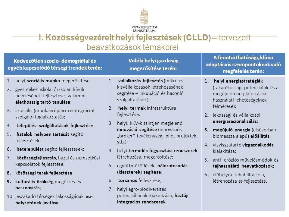 I. Közösségvezérelt helyi fejlesztések (CLLD) – tervezett beavatkozások témakörei