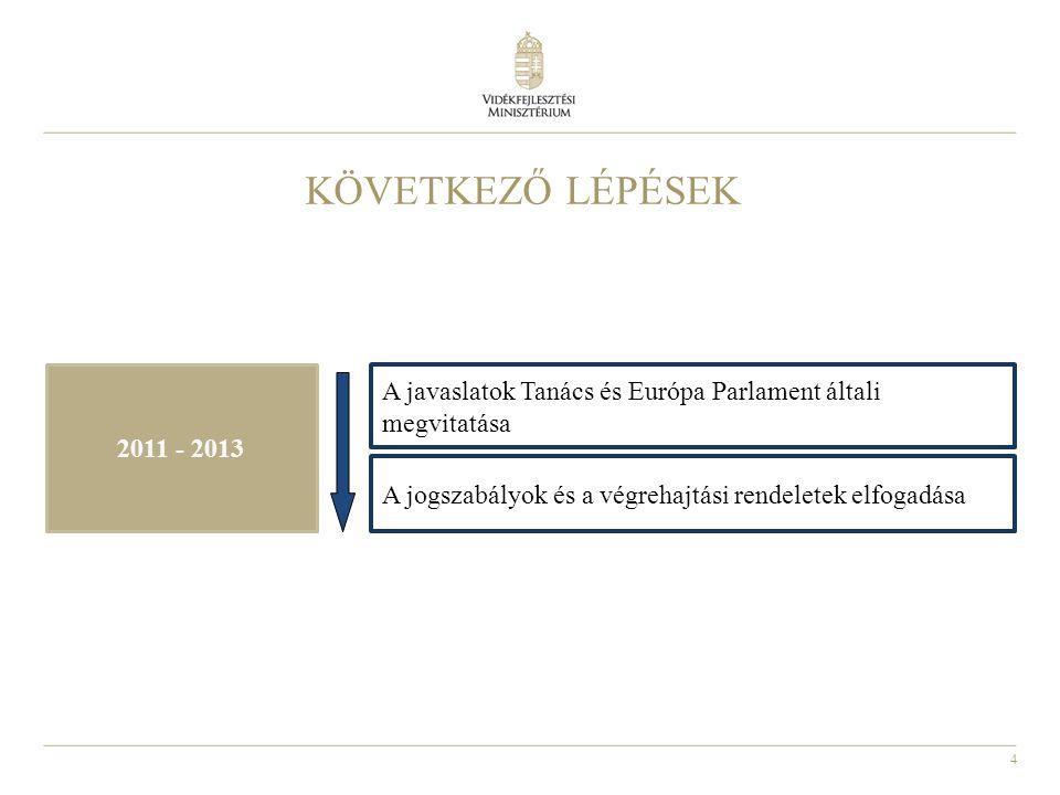 KÖVETKEZŐ LÉPÉSEK 2011 - 2013. A javaslatok Tanács és Európa Parlament általi megvitatása.