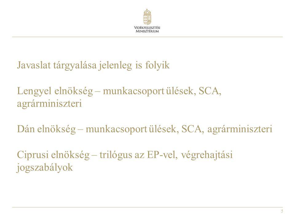 Javaslat tárgyalása jelenleg is folyik Lengyel elnökség – munkacsoport ülések, SCA, agrárminiszteri Dán elnökség – munkacsoport ülések, SCA, agrárminiszteri Ciprusi elnökség – trilógus az EP-vel, végrehajtási jogszabályok