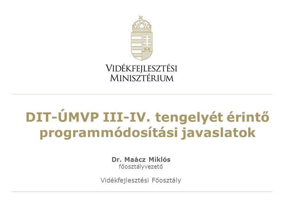 DIT-ÚMVP III-IV. tengelyét érintő programmódosítási javaslatok