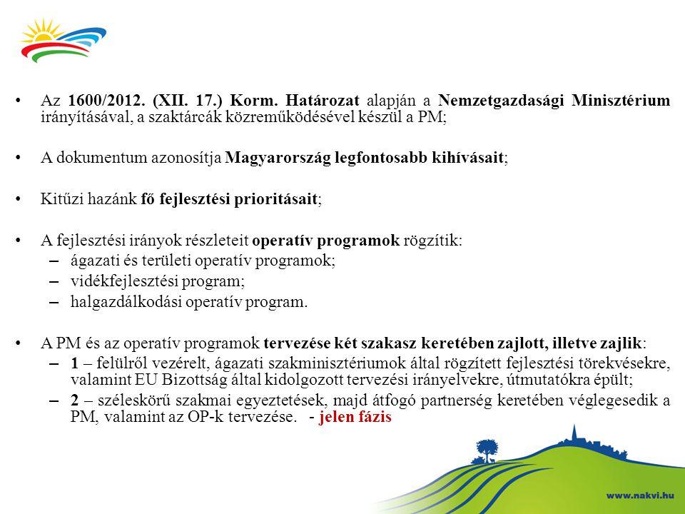 Az 1600/2012. (XII. 17.) Korm. Határozat alapján a Nemzetgazdasági Minisztérium irányításával, a szaktárcák közreműködésével készül a PM;