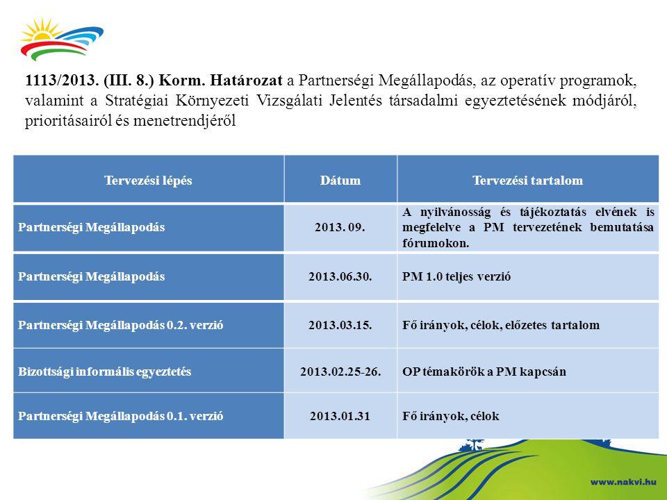 1113/2013. (III. 8.) Korm. Határozat a Partnerségi Megállapodás, az operatív programok, valamint a Stratégiai Környezeti Vizsgálati Jelentés társadalmi egyeztetésének módjáról, prioritásairól és menetrendjéről