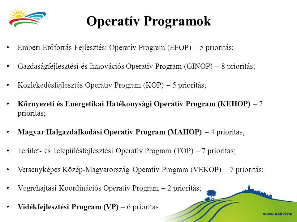 Operatív Programok Emberi Erőforrás Fejlesztési Operatív Program (EFOP) – 5 prioritás;