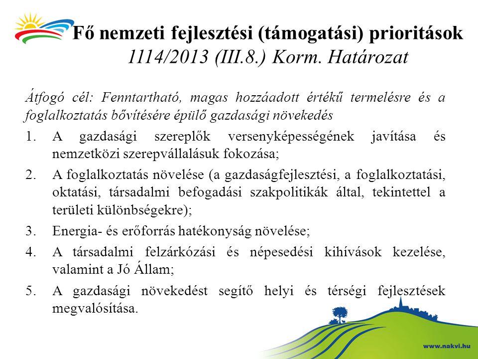 Fő nemzeti fejlesztési (támogatási) prioritások 1114/2013 (III. 8