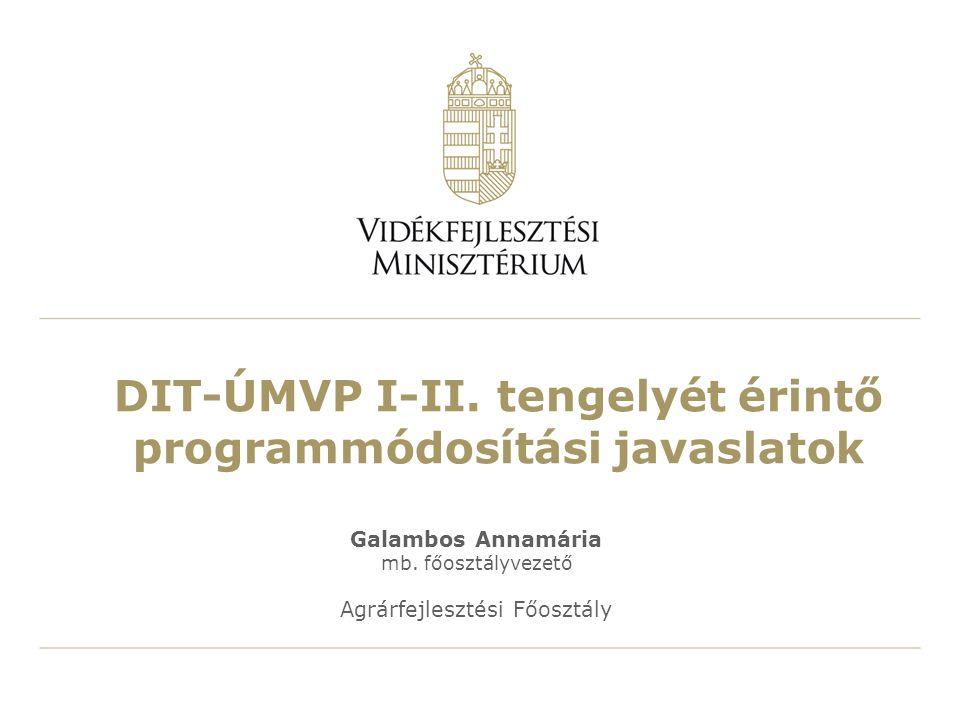DIT-ÚMVP I-II. tengelyét érintő programmódosítási javaslatok
