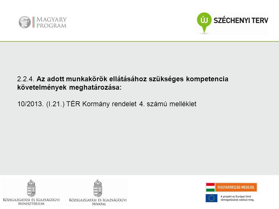 2.2.4. Az adott munkakörök ellátásához szükséges kompetencia követelmények meghatározása: