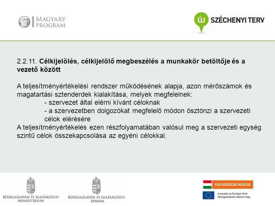 2.2.11. Célkijelölés, célkijelölő megbeszélés a munkakör betöltője és a vezető között