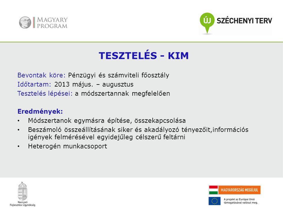 . TESZTELÉS - KIM Bevontak köre: Pénzügyi és számviteli főosztály