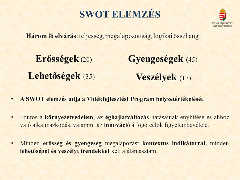 SWOT ELEMZÉS Erősségek (20) Gyengeségek (45) Lehetőségek (35)