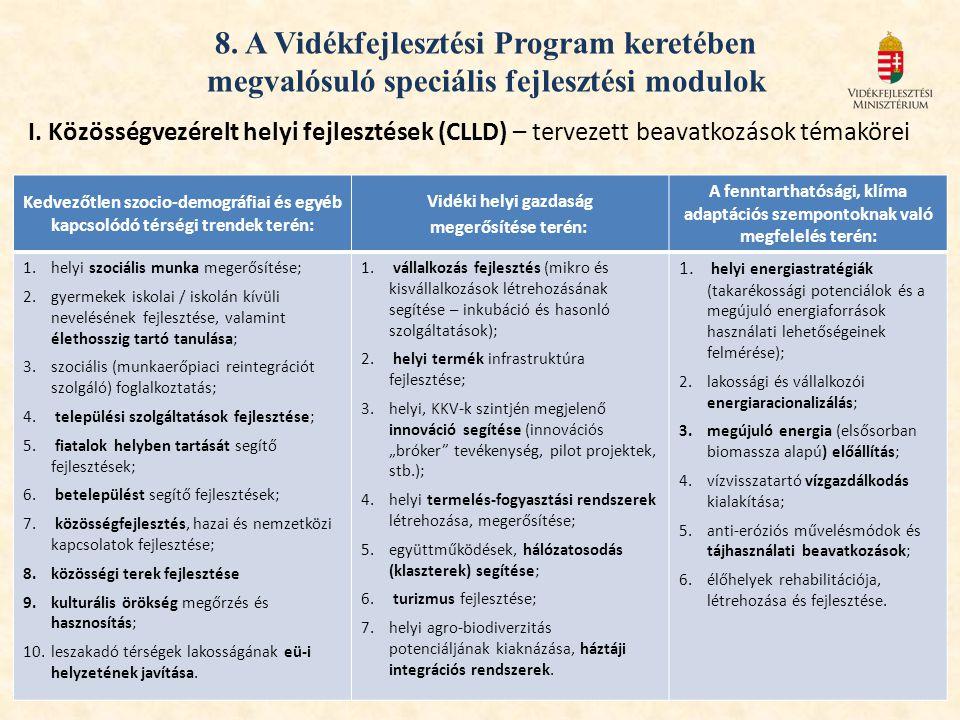 8. A Vidékfejlesztési Program keretében megvalósuló speciális fejlesztési modulok