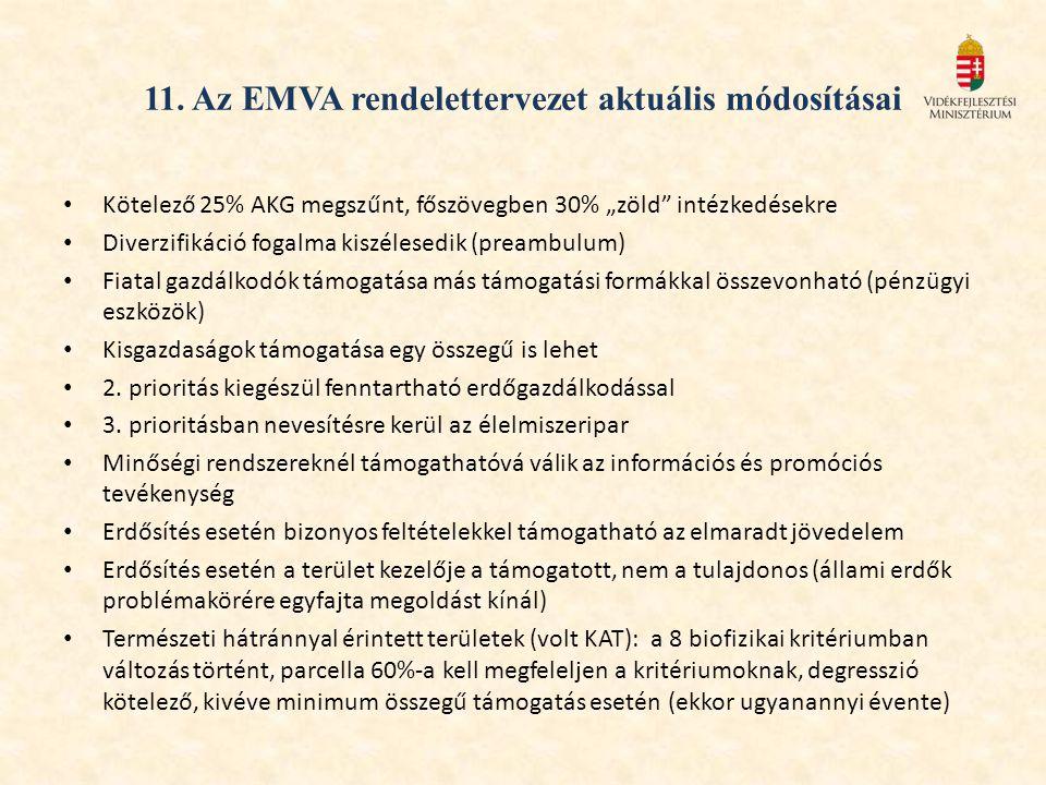 11. Az EMVA rendelettervezet aktuális módosításai