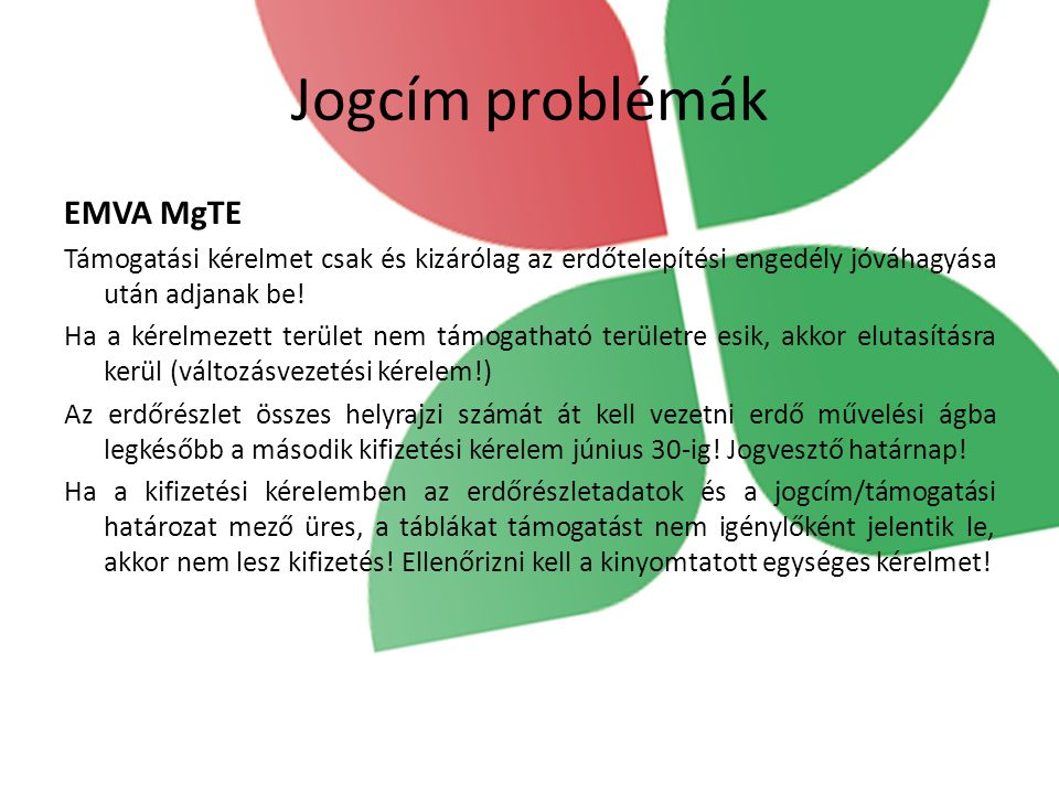 Jogcím problémák EMVA MgTE