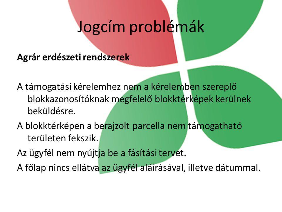 Jogcím problémák Agrár erdészeti rendszerek