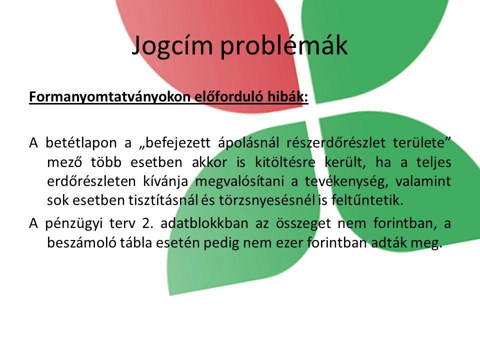 Jogcím problémák Formanyomtatványokon előforduló hibák: