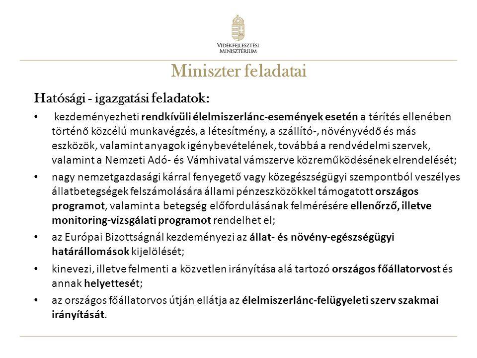 Miniszter feladatai Hatósági - igazgatási feladatok: