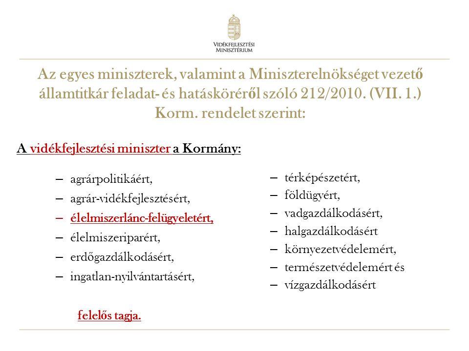 Az egyes miniszterek, valamint a Miniszterelnökséget vezető államtitkár feladat- és hatásköréről szóló 212/2010. (VII. 1.) Korm. rendelet szerint: