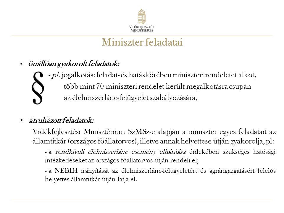 Miniszter feladatai önállóan gyakorolt feladatok: - pl. jogalkotás: feladat- és hatáskörében miniszteri rendeletet alkot,