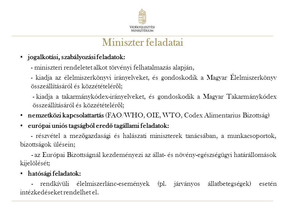 Miniszter feladatai jogalkotási, szabályozási feladatok: