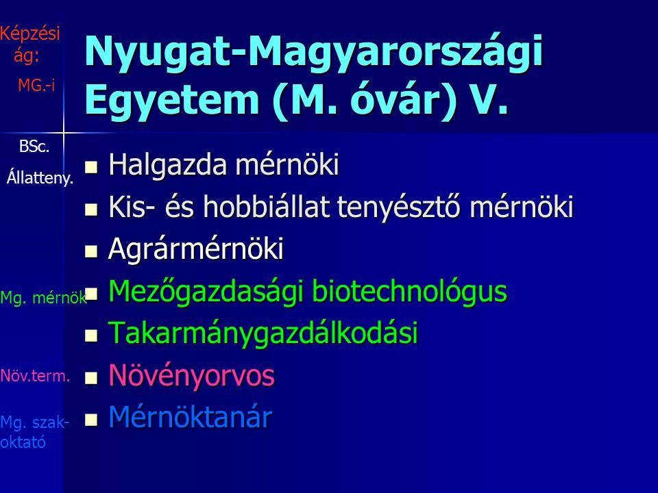 Nyugat-Magyarországi Egyetem (M. óvár) V.
