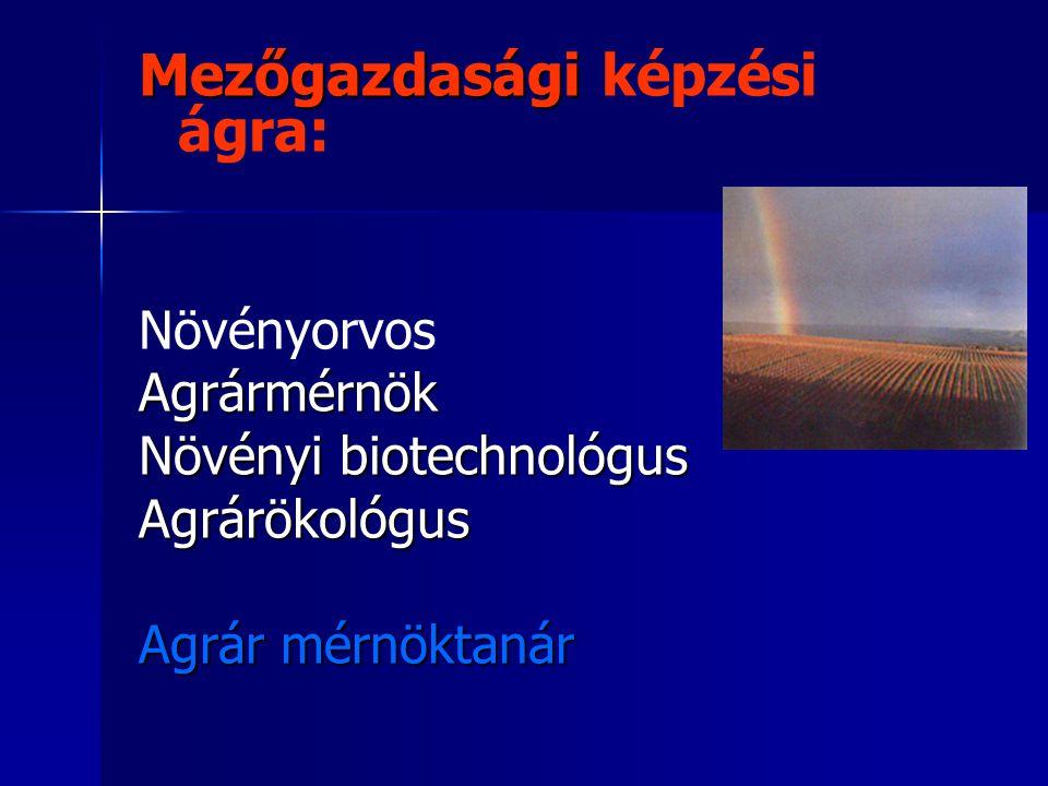 Mezőgazdasági képzési ágra: