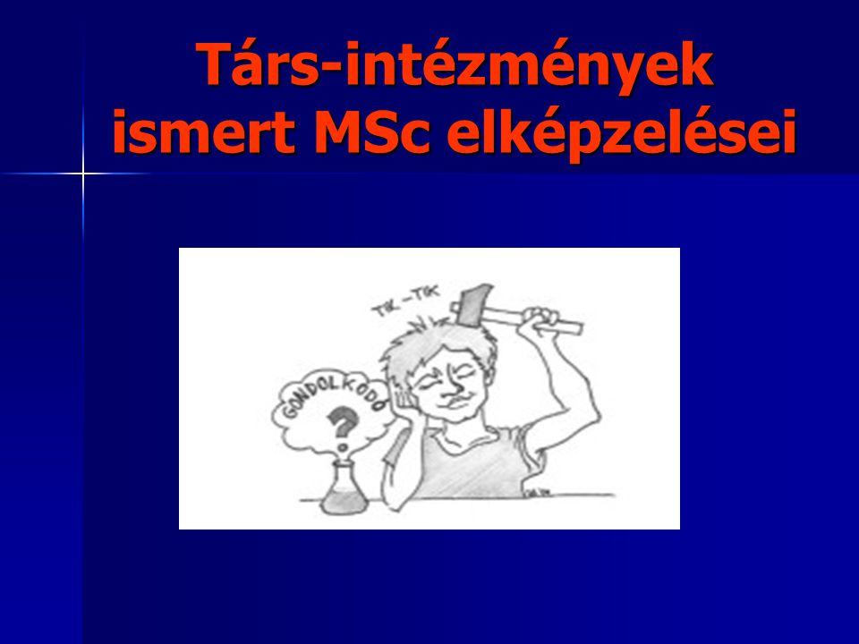 Társ-intézmények ismert MSc elképzelései