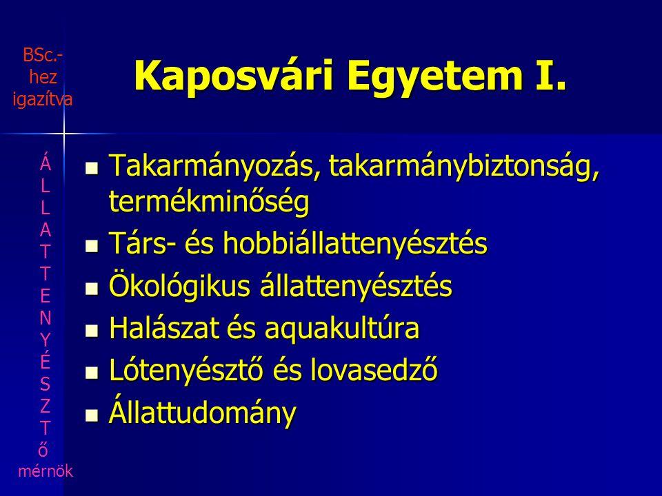 Kaposvári Egyetem I. Takarmányozás, takarmánybiztonság, termékminőség