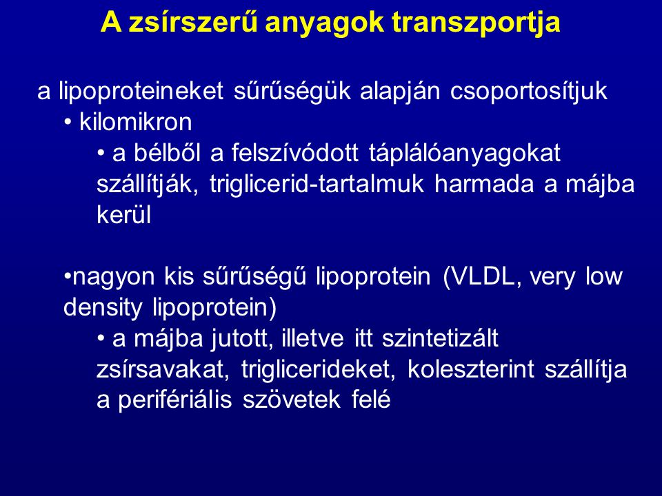 A zsírszerű anyagok transzportja