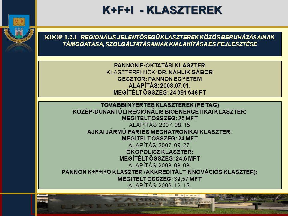 K+F+I - KLASZTEREK KDOP 1.2.1 REGIONÁLIS JELENTŐSEGŰ KLASZTEREK KÖZÖS BERUHÁZÁSAINAK TÁMOGATÁSA, SZOLGÁLTATÁSAINAK KIALAKÍTÁSA ÉS FEJLESZTÉSE.