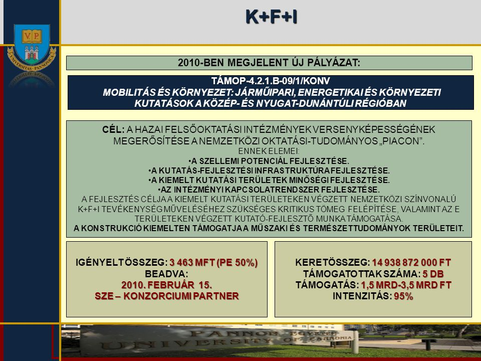 K+F+I 2010-BEN MEGJELENT ÚJ PÁLYÁZAT: TÁMOP-4.2.1.B-09/1/KONV