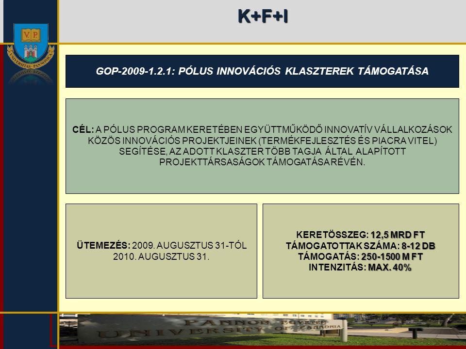 K+F+I GOP-2009-1.2.1: PÓLUS INNOVÁCIÓS KLASZTEREK TÁMOGATÁSA