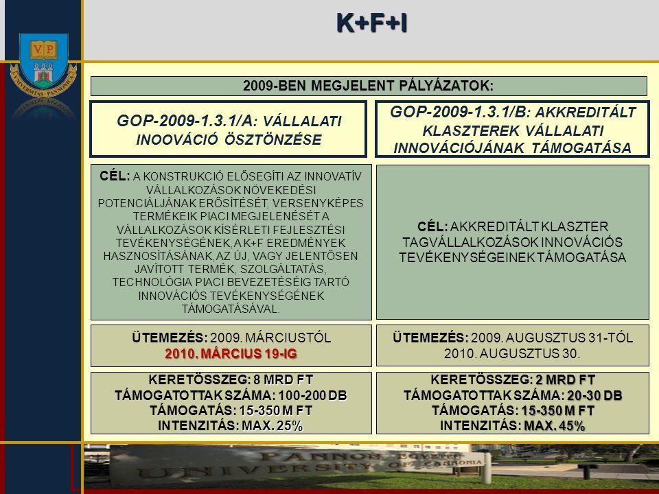 K+F+I 2009-BEN MEGJELENT PÁLYÁZATOK: GOP-2009-1.3.1/A: VÁLLALATI INOOVÁCIÓ ÖSZTÖNZÉSE.