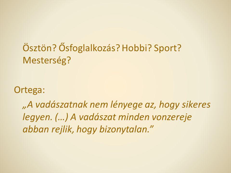 Ösztön. Ősfoglalkozás. Hobbi. Sport. Mesterség