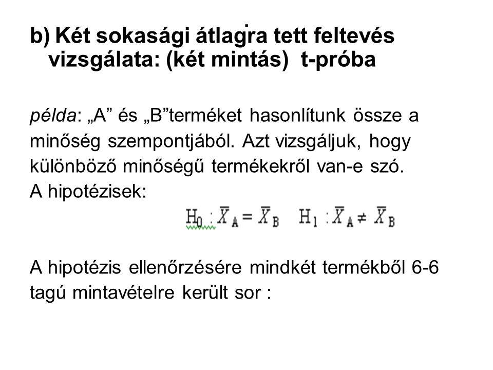 """. b) Két sokasági átlagra tett feltevés vizsgálata: (két mintás) t-próba. példa: """"A és """"B terméket hasonlítunk össze a."""
